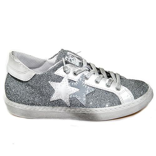2 STAR - Sneaker Low Grigio Medio Bianco (35 EU)  Amazon.it  Scarpe ... 6e253faeedf