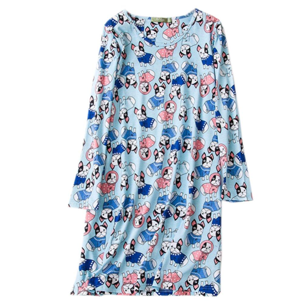ENJOYNIGHT Women's Cotton Sleepwear Long Sleeves Nightgown Print Tee Sleep Dress