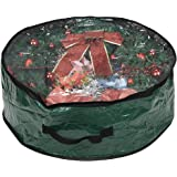 """ProPik Wreath Storage Bag Polyester Tear Resistant Fabric for Holiday Easy Storage with Clear Window Featuring Heavy Handel's and Transparent Card Slot 24"""" X 24"""" X 8"""" (Green)"""