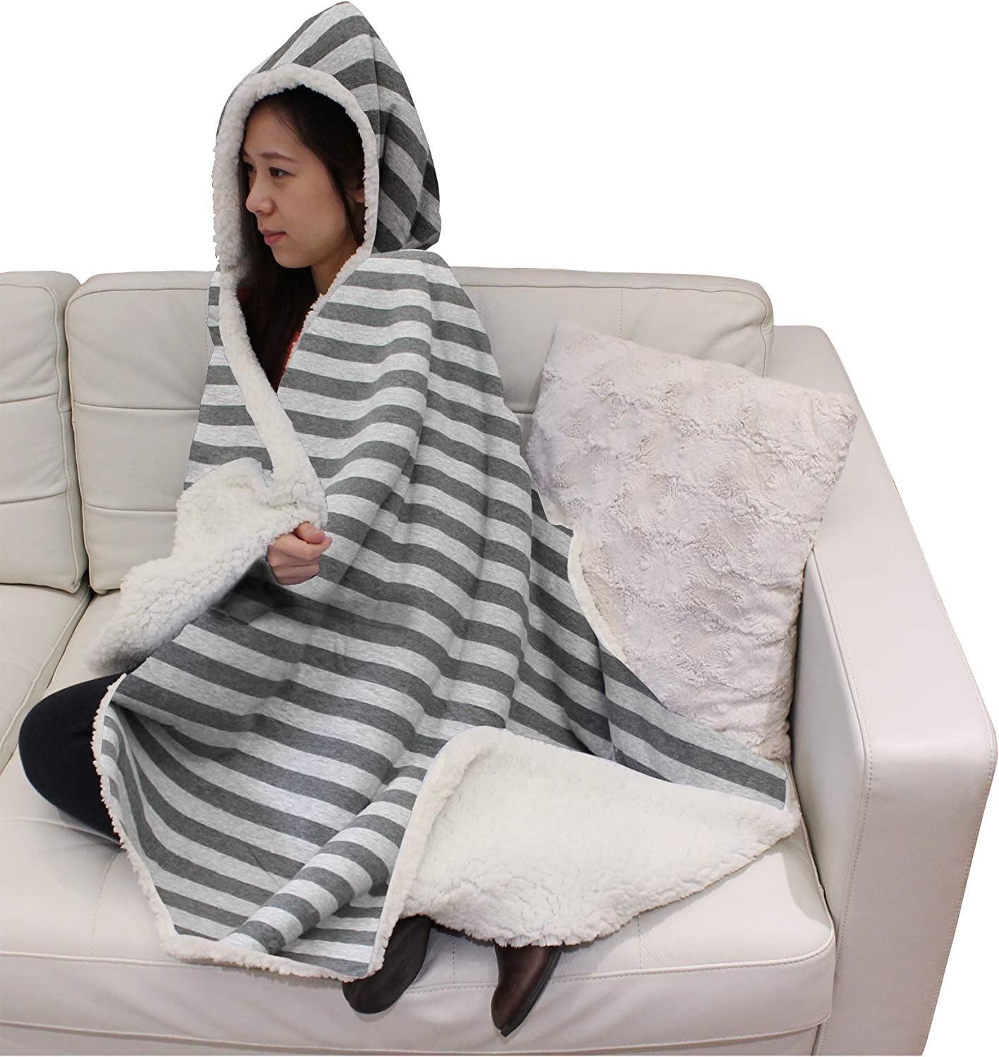 Posh Home New Cotton Blend Hooded Jersey Knit Soft Reversible Sherpa Throw Blanket