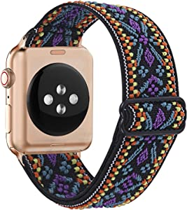 SUPOIX Compatible with Apple Watch 42mm/44mm, Women Soft Adjustable Stretch Elastic Replacement Wristband for iWatch Series SE/6/5/4/3/2/1(Aztec Purple Blue,42mm/44mm)