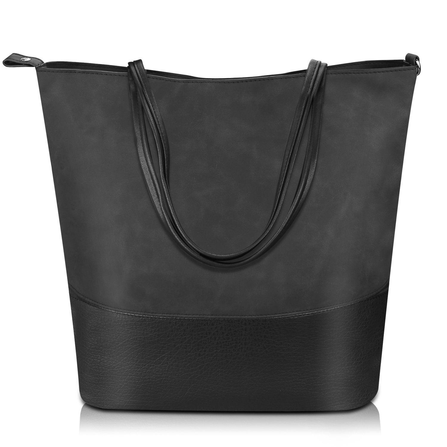 5a4b331c4171 Proking Women Handbags Ladies Fashion Shopping Bag Tote Bags for Women Top  Handle Bags Soft PU Leather Shoulder Bags Women - Black(Size L)   Amazon.co.uk  ...