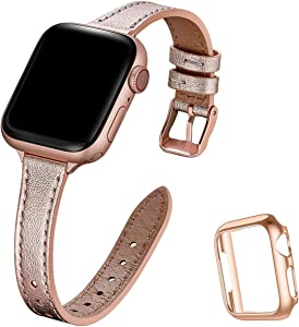 STIROLL Slim Leather Bands Compatible with Apple Watch Band 38mm 40mm 42mm 44mm, Top Grain Leather Watch Thin Wristband for iWatch SE Series 6/5/4/3/2/1 (Rose Gold with Rose Gold, 38mm/40mm)