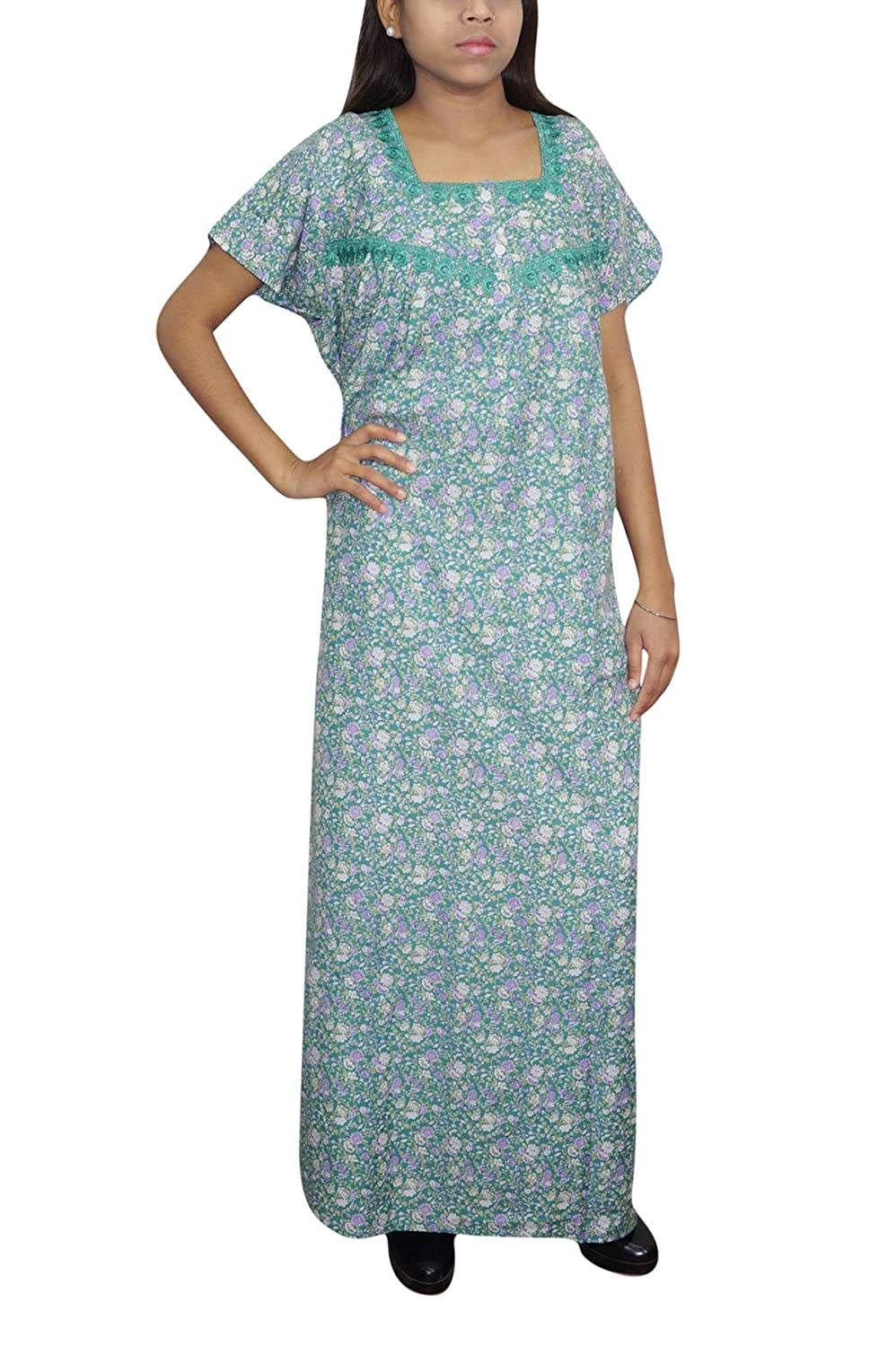 big selection of 2019 amazing quality enjoy lowest price Indiatrendzs Womens Cotton Maxi Gown Floral Print Green ...