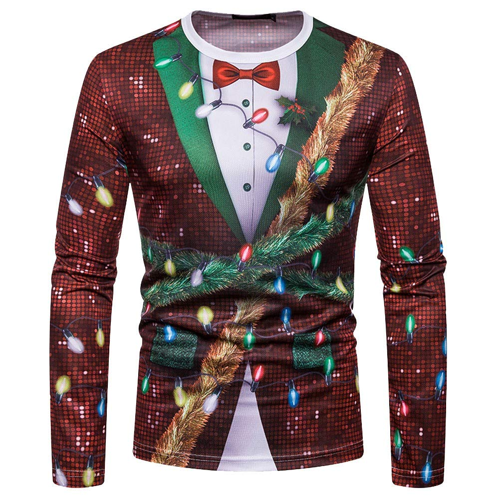 Hombre camiseta navidad, Sonnena Camiseta hombre otoñ o invierno Blusa de Navidad Tops Ropa de manga larga sudaderas camisetas camisas Sonnena Camiseta hombre otoño invierno Blusa de Navidad Tops Ropa de manga larga sudaderas camisetas camisas