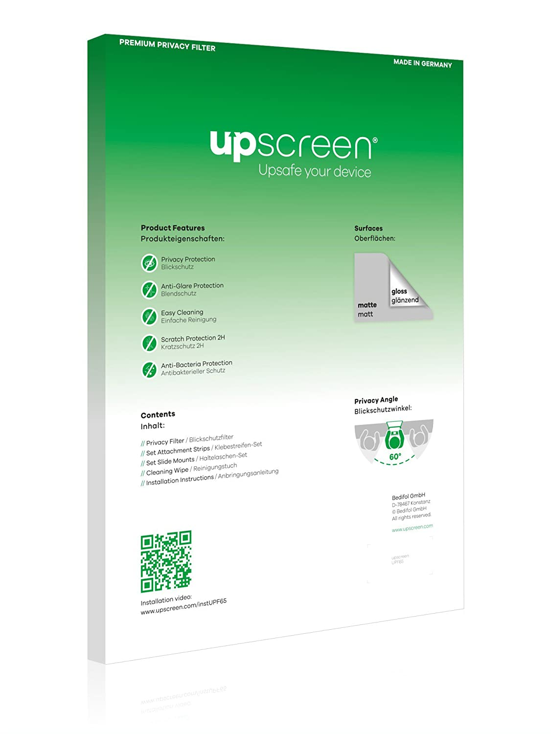 upscreen Filtro de Privacidad Compatible con Lenovo Yoga C940 14 2-in-1 Protector Pantalla Anti-Espia Privacy Filter