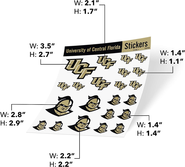 Type 1 Sheet University of Central Florida UCF Golden Knights NCAA Sticker Vinyl Decal Laptop Water Bottle Car Scrapbook