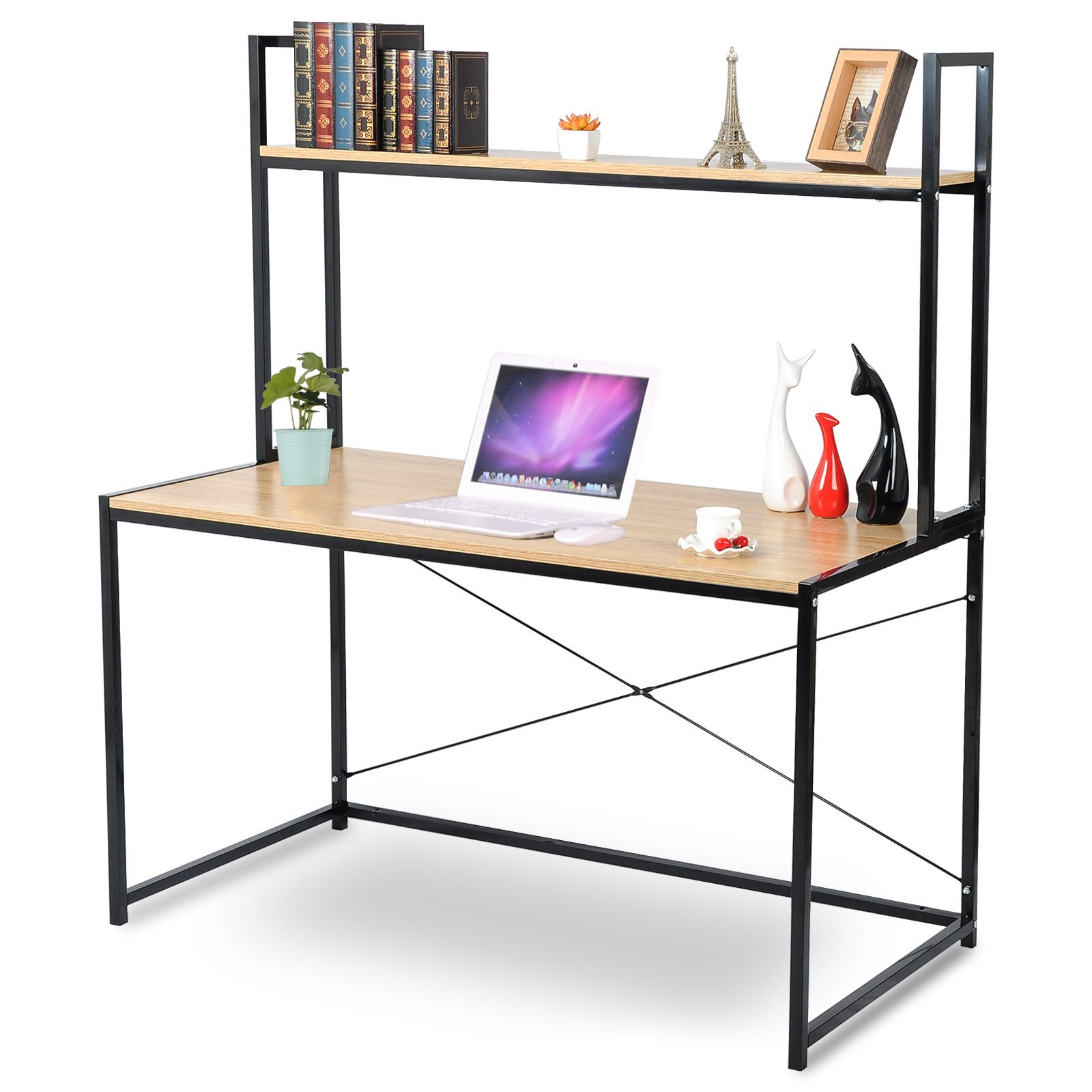 Space Saving Built In Office Furniture In Corners: WOLTU 2-Tier Shelves Modern Home Office Desk Space Saving
