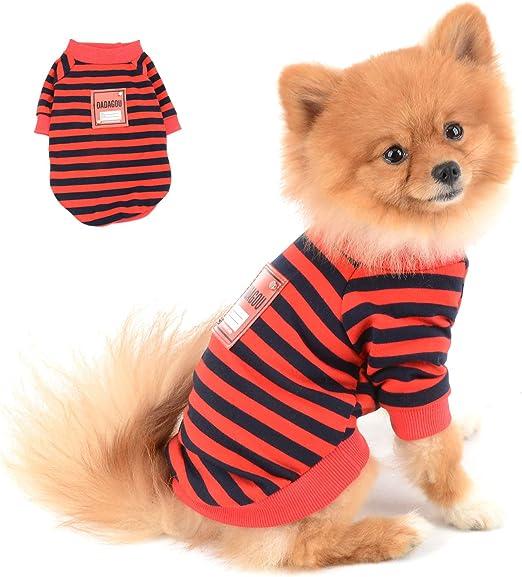 SELMAI Camisa Perro Verano para Perros Pequeños Algodón Cómodas Camisetas de Rayas para Gatos Mangas Cortas Polo Chaleco tee Transpirable Ropa para Chihuahua Mascotas Yorkshire Uso Diario Rojo M: Amazon.es: Productos para
