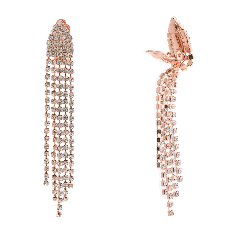 Topwholesalejewel Fashion Earrings Rose Gold Plating Clip On Tear Drop Earrings