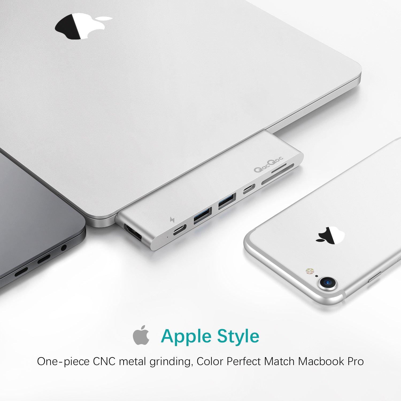 """Lector de Tarjetas SD//Micro 4k HDMI 30Hz GN28K hub USB c de Aluminio y 2 Puertos USB 3.0 para el 13/""""/&15/"""" MacBook Pro 2016//2017 Tipo c hub con Thunderbolt 3"""