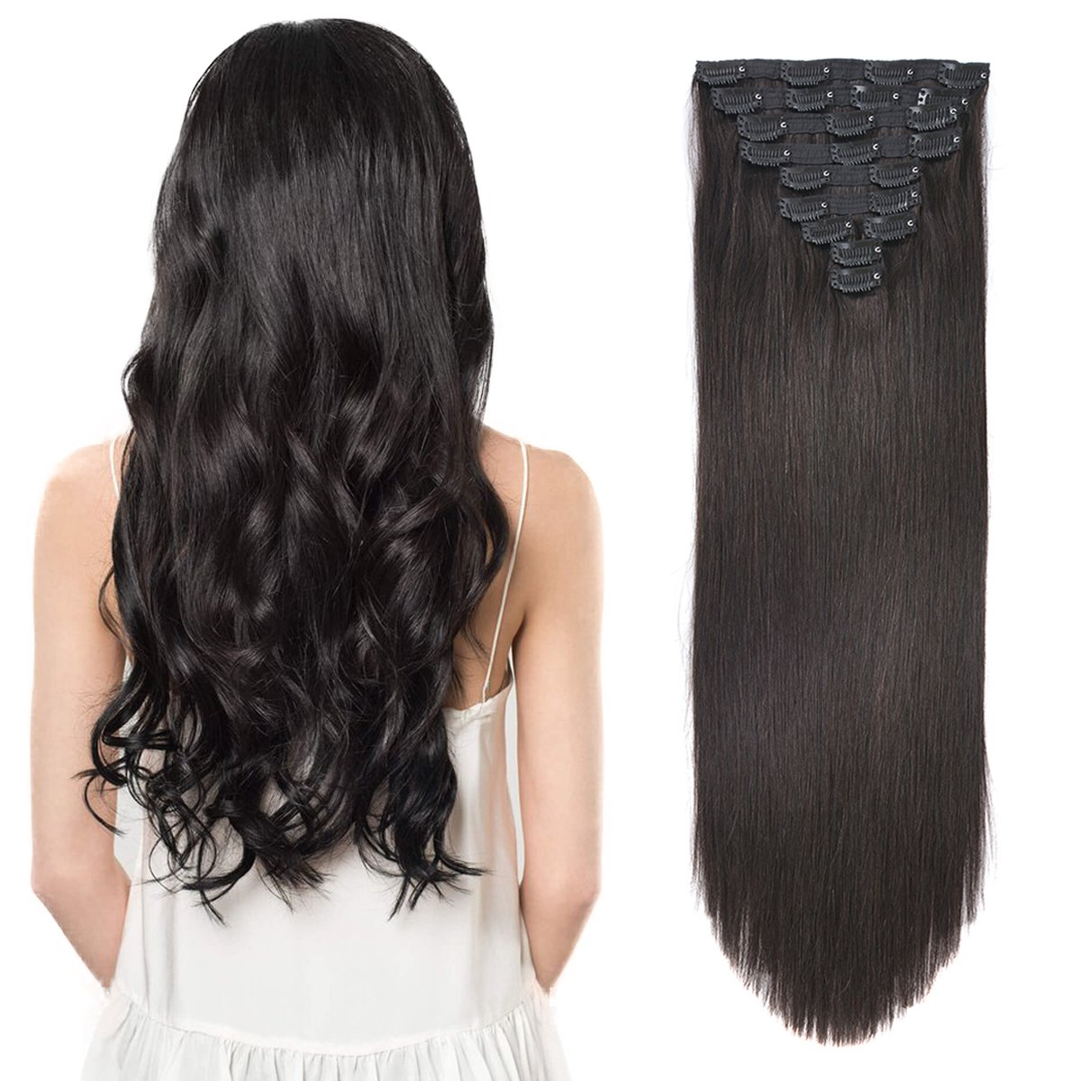 20'' Clip in Human Hair Extensions Natural Hair Clip in Extensions for Thick Hair Full Head Off Black #1B 10pieces 220grams/7.7oz by BEAUTY PLUS (Image #3)