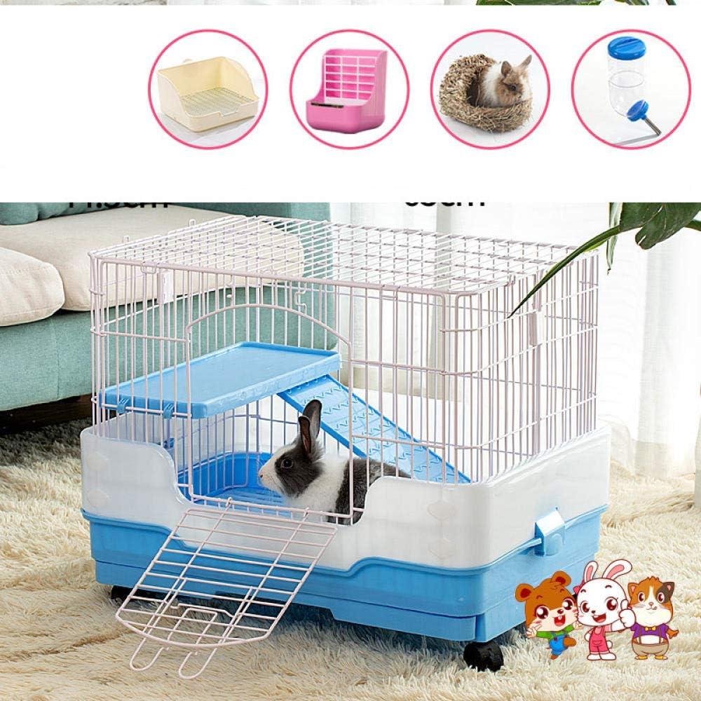 MJBABY Jaula de Conejo, eliminación automática de estiércol, cría, hogar de Interior, Conejillo de Indias, Cerdo holandés, Jaula para Mascotas-Doble Conejo Azul-B