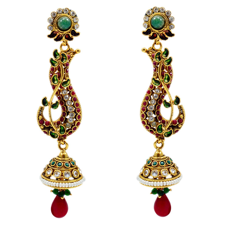 White Kundan Meena Yellow Gold Plated Earring For Girls PG-109523 Silvestoo Jaipur Green Emerald Ruby Created