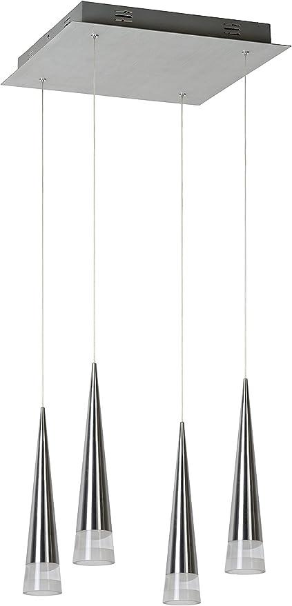 Lucide Reiko – – lámpara colgante LED DIM. – 4 x 20 W 2700 K – Cromo mate, metal, blanco, Integriert 20 wattsW 230 voltsV: Amazon.es: Iluminación