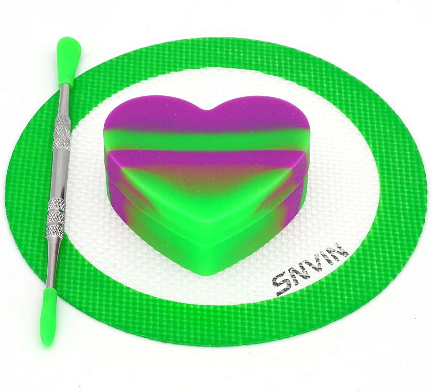 SNVIN Heart-Shaped Silicone Wax Concentrate Containers Non-stick Jar Comes with a Heat-Resistant Silicone Pad and Carving tool Set (Purple/Green)