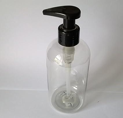 4 x 250 ml transparente PET botella de plástico vacía con negro bomba de loción dispensador