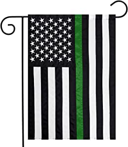 "Briarwood Lane Thin Green Line Embroidered Garden Flag Military Support 12.5"" x 18"""