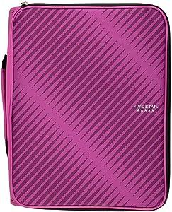 Five Star Zipper Binder, 2 Inch 3 Ring Binder, 6-Pocket Expanding File, Durable, Berry Pink/Purple (72540)
