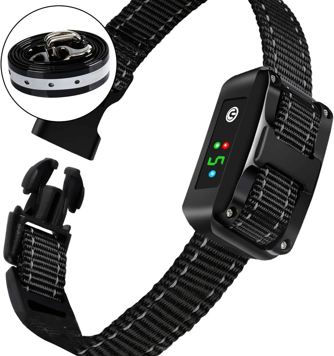 Newest 2019 Rechargeable Bark Collar - Upgraded Smart Humane Dog Anti-Barking Device - Vibration, Beep Mode for Small, Medium, Large Dogs All Breeds - IPX5 Waterproof SJCCKJ