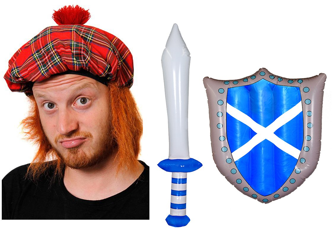 BURNS NIGHT ACCESSORY SET - TAM O SHANTER HAT WITH ATTACHED FAKE GINGER HAIR  + INFLATABLE SCOTTISH FLAG SWORD AND SHIELD  Amazon.co.uk  Toys   Games b9ce30fa2321