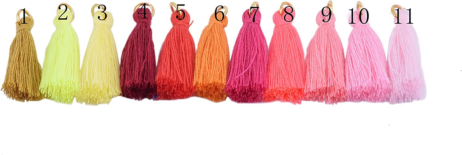 Red KONMAY 50PCS 1.4 Soft Handmade Silky Tiny Craft Tassels With Golden Jump Ring for DIY Projects 3.5cm