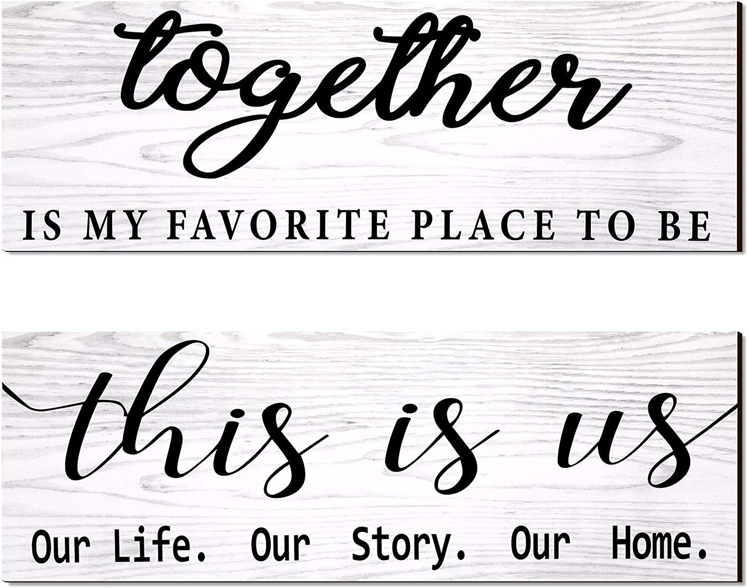 2 Pieces This is Us Our Life Our Story Rustic Print Wood Signs Together Rustic Wooden Wall Art Signs Farmhouse Entryway Signs for Bedroom Living Room Office Decor, 4.7 x 13.8 Inch (White)