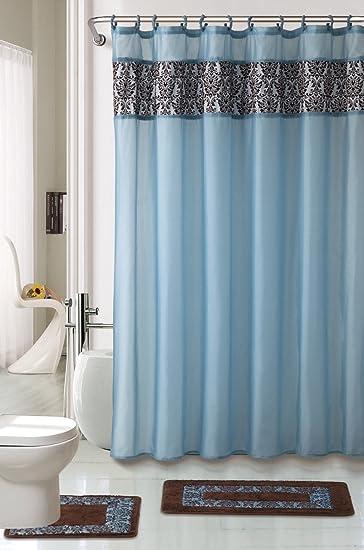 4 Piece Luxury Majestic Flocking Blue Bath Rug Set/ 3 Piece Bathroom Rugs  With Fabric