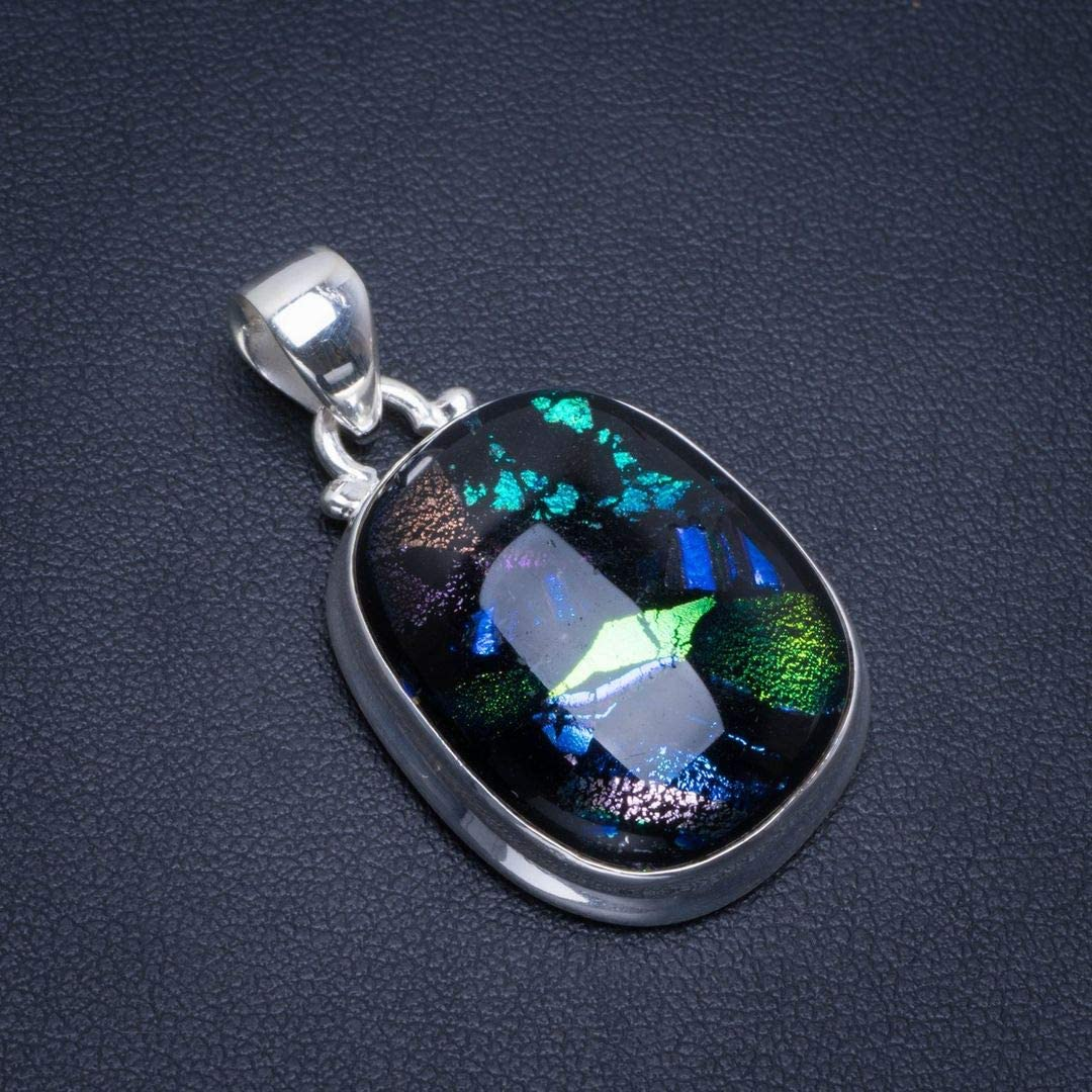 Argent 925 Dichroic Glass Unique fait /à la main Pendentif 3,81cm Dichroic Glass B3429
