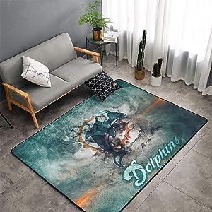 HeatherAssante Decoration Miami Dolphins Easy to Clean Non-Slip Carpet, Area Carpet, Indoor Carpet and Living Room Carpet, Floor mat, Bedroom