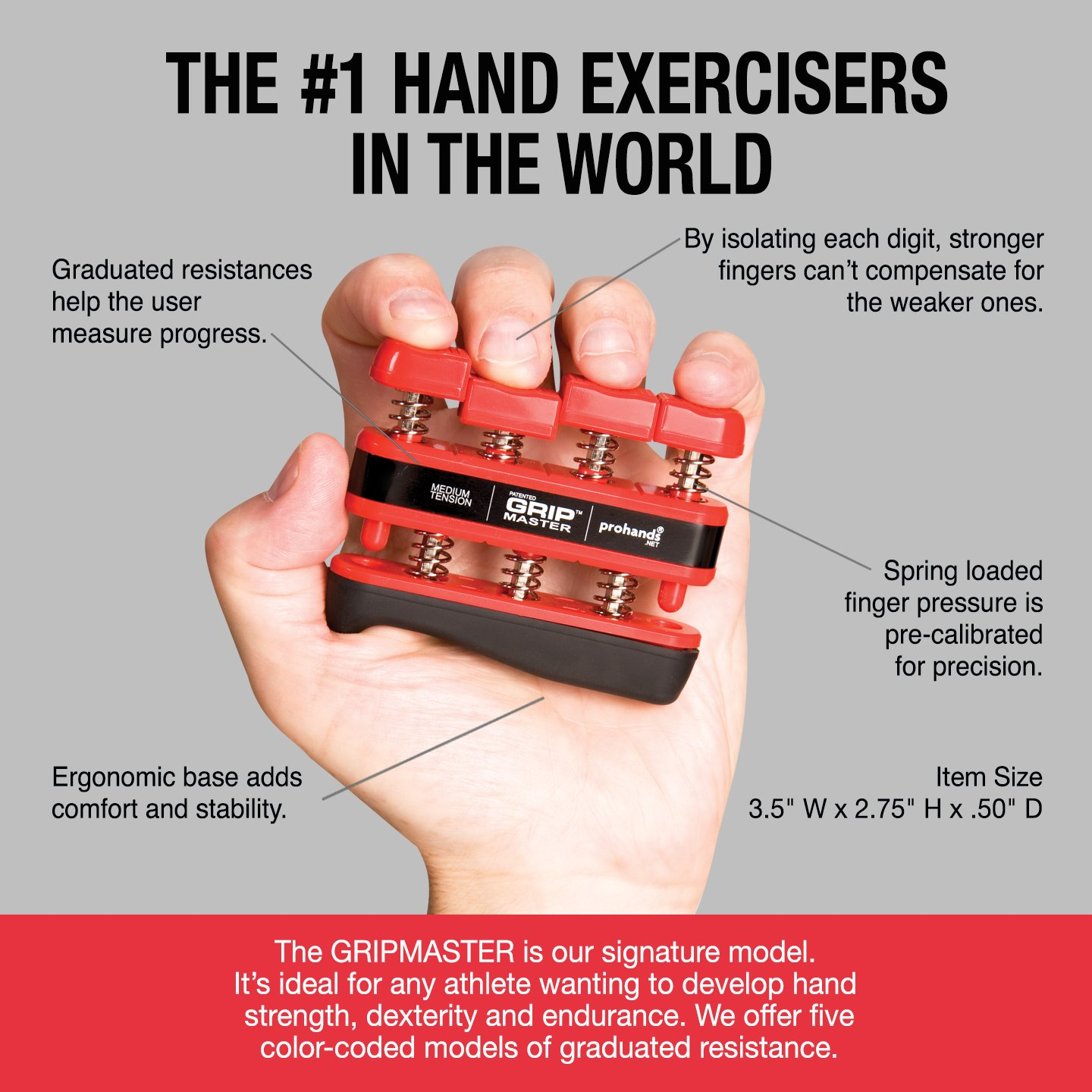 GRIP MASTER Gripmaster 14002-RED Hand Exerciser Red, Medium Tension (7-Pounds per Finger) by GRIP MASTER (Image #3)