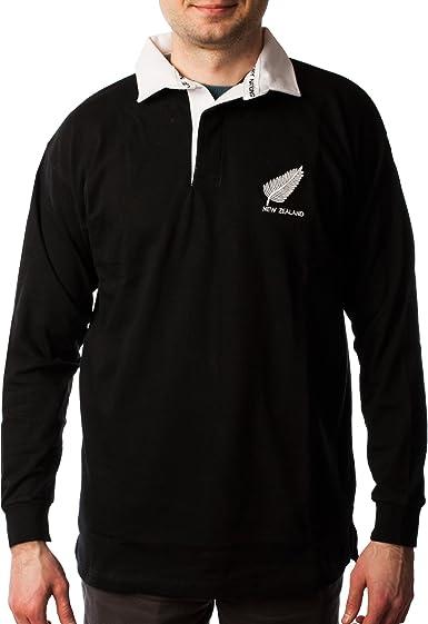 Camiseta de rugby para hombre de Rugby Nations, de manga larga, de algodón, con texto «New Zealand»: Amazon.es: Ropa y accesorios