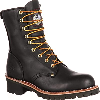 "Georgia Boot Men's Logger 8"" Black Non Steel-Toe Work Boot 