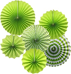 ADLKGG Party Hanging Paper Fans Set, Green Round Pattern Paper Garlands Decoration for Birthday Wedding Graduation Events Accessories, Set of 6