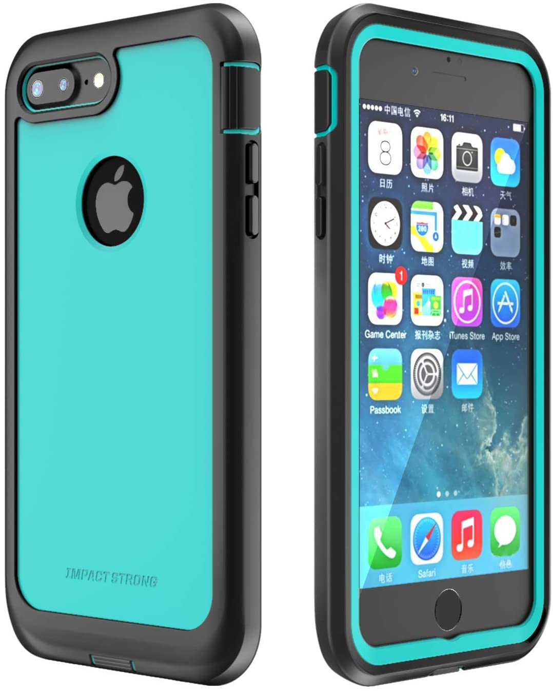 IMPACTSTRONG iPhone 7 Plus/iPhone 8 Plus Case, Ultra Protective Case with Built-in Clear Screen Protector Full Body Cover for iPhone 7 Plus/iPhone 8 Plus (Ocean Blue)
