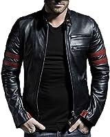V4M Men's New Red Stripe Rider Genuine Leather Jacket