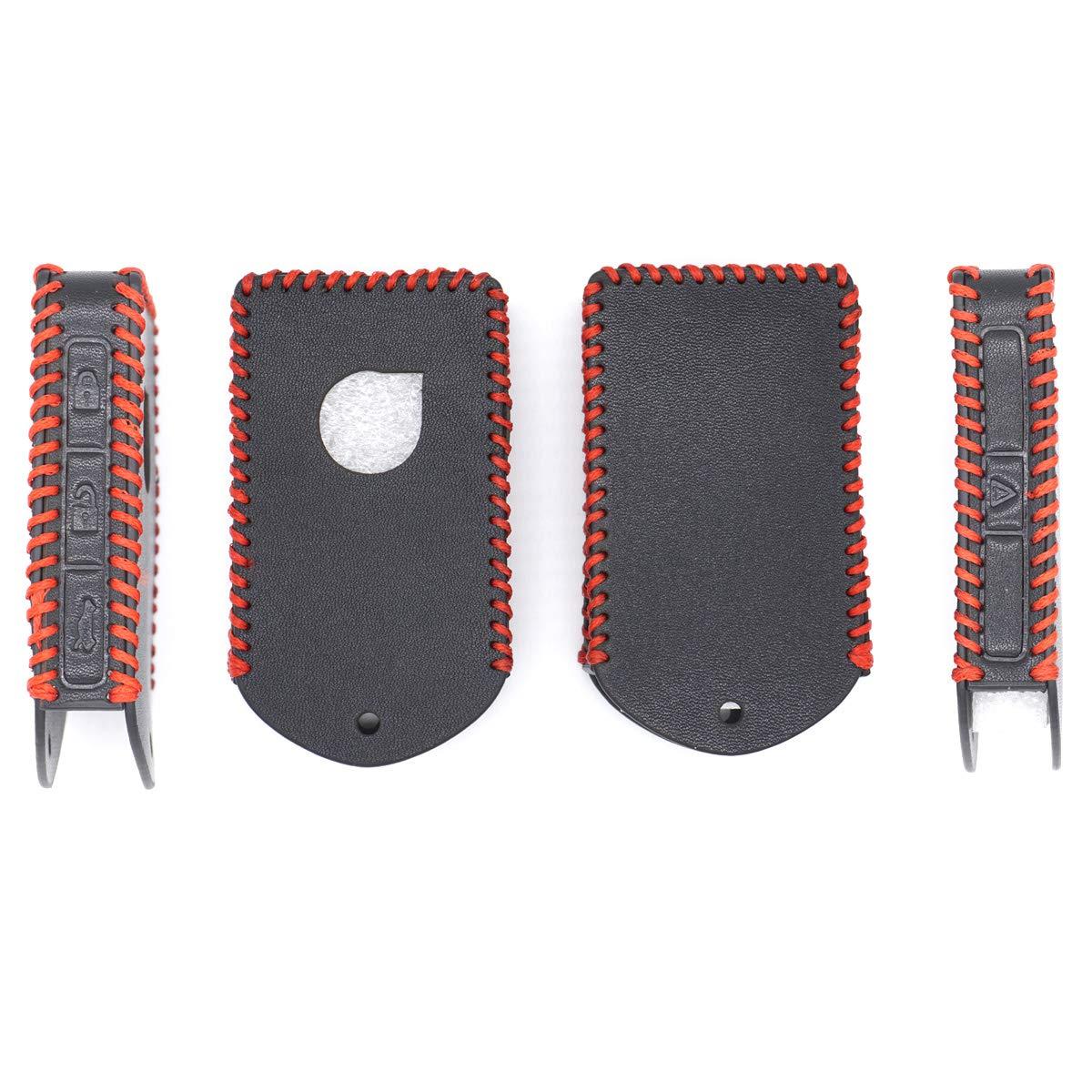 RoyalFox Genuine Leather Smart keyless Entry Remote Key Fob case Cover Keychain for 2016 2017 2018 2019 2020 Volvo XC60 XC90 S90 V90 XC40 Side Button fob