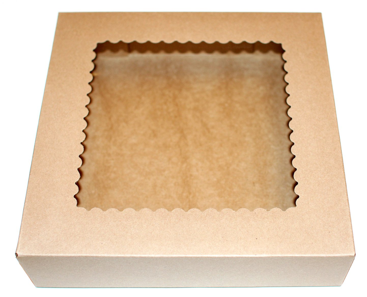 Bakery Boxes with Clear Window (Pack of 10) - 10'' x 10'' x 2 1/2'' - Brown Kraft Paper Box for Pies, Cookies, Cakes, or Cupcakes - Superior Quality