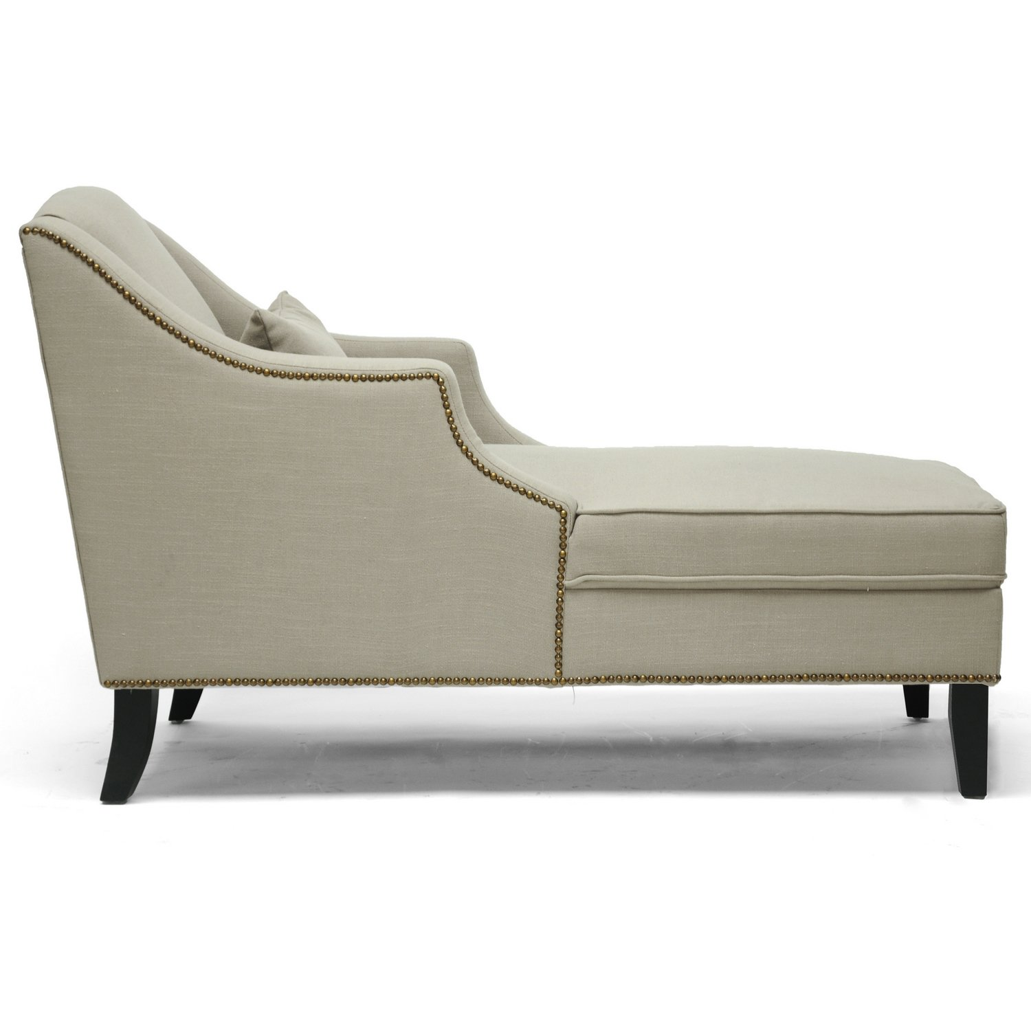 Amazon.com: Baxton Studio Asteria Putty Linen Modern Chaise Lounge ...