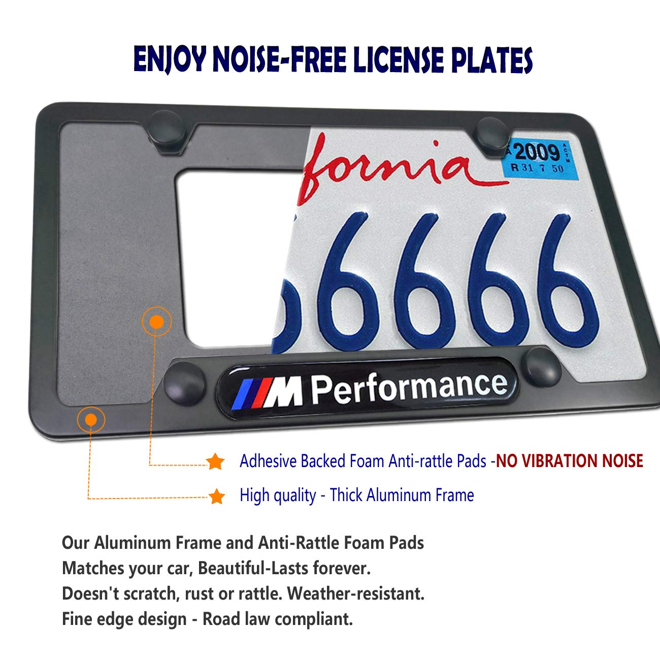 License Plate Frame for BMW 2 Pack 3D M Performance Logo Matte Aluminum License Plate Holder Cove for BMW License Tag Frame with Stainless Steel Plate Screws,Caps Set /& License Plate Rattle-Proof Pad