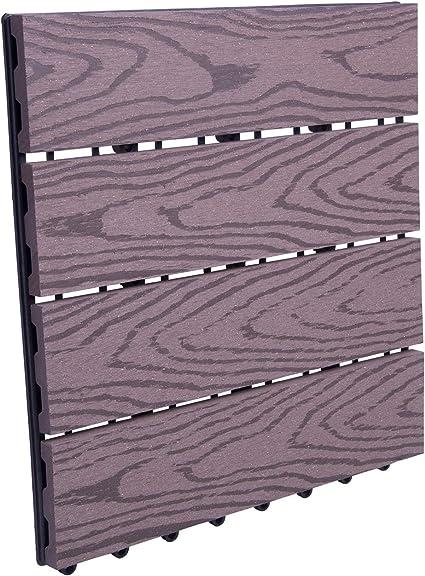 WOLTU Suelo de WPC Set de 1 Baldosas de Madera Exterior para Porche Patios Jardin, 30 x 30 cm Compuesta Azulejos para Terraza Café: Amazon.es: Oficina y papelería