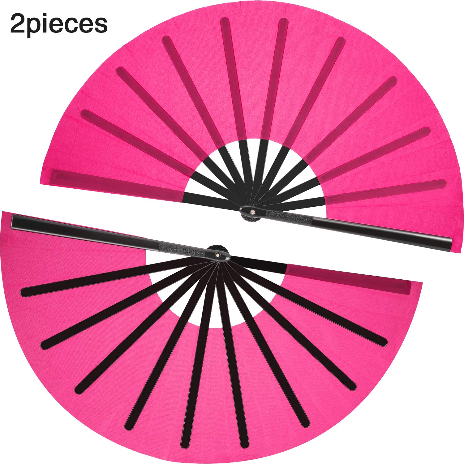 Details about 2 Pieces Large Folding Fan Nylon Cloth Handheld Chinese Kung  Fu Tai Party Pink