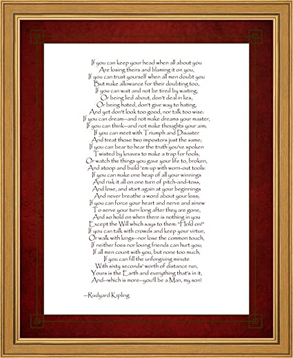 Amazon If By Rudyard Kipling Framed Art Print Wall Picture