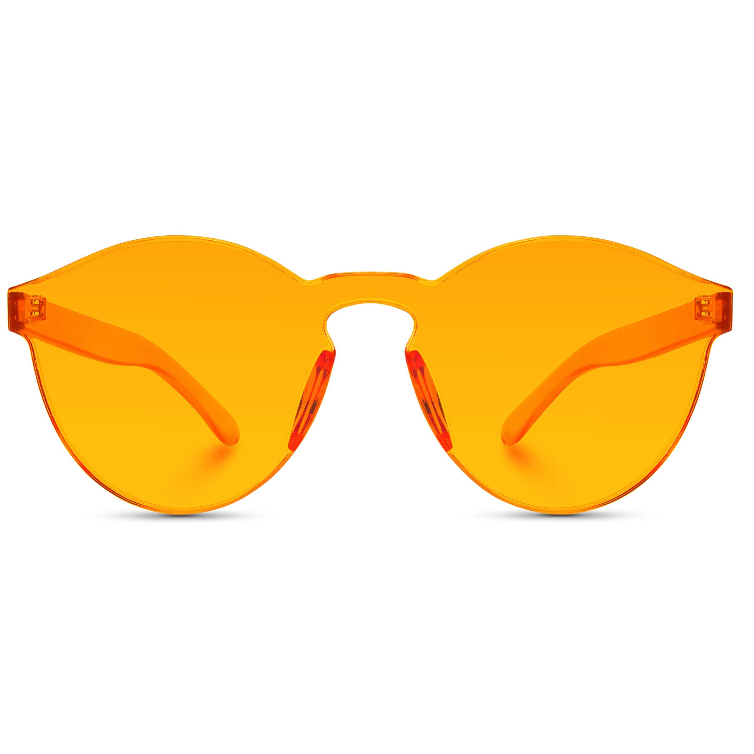 WearMe Pro - Colorful Transparent Round Super Retro Sunglasses (Orange, 59) by WearMe Pro