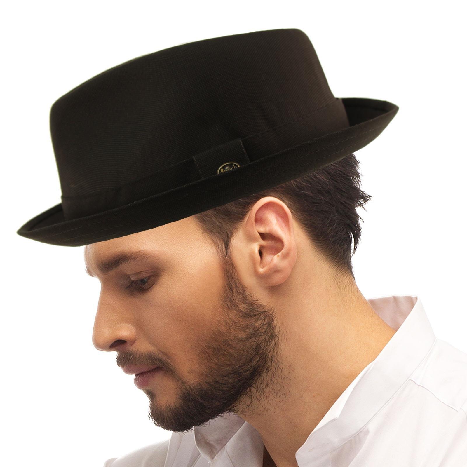 SK Hat shop Men's Fancy Suit Rayon Fabric Derby Fedora stingy Curled Brim Hat S/M