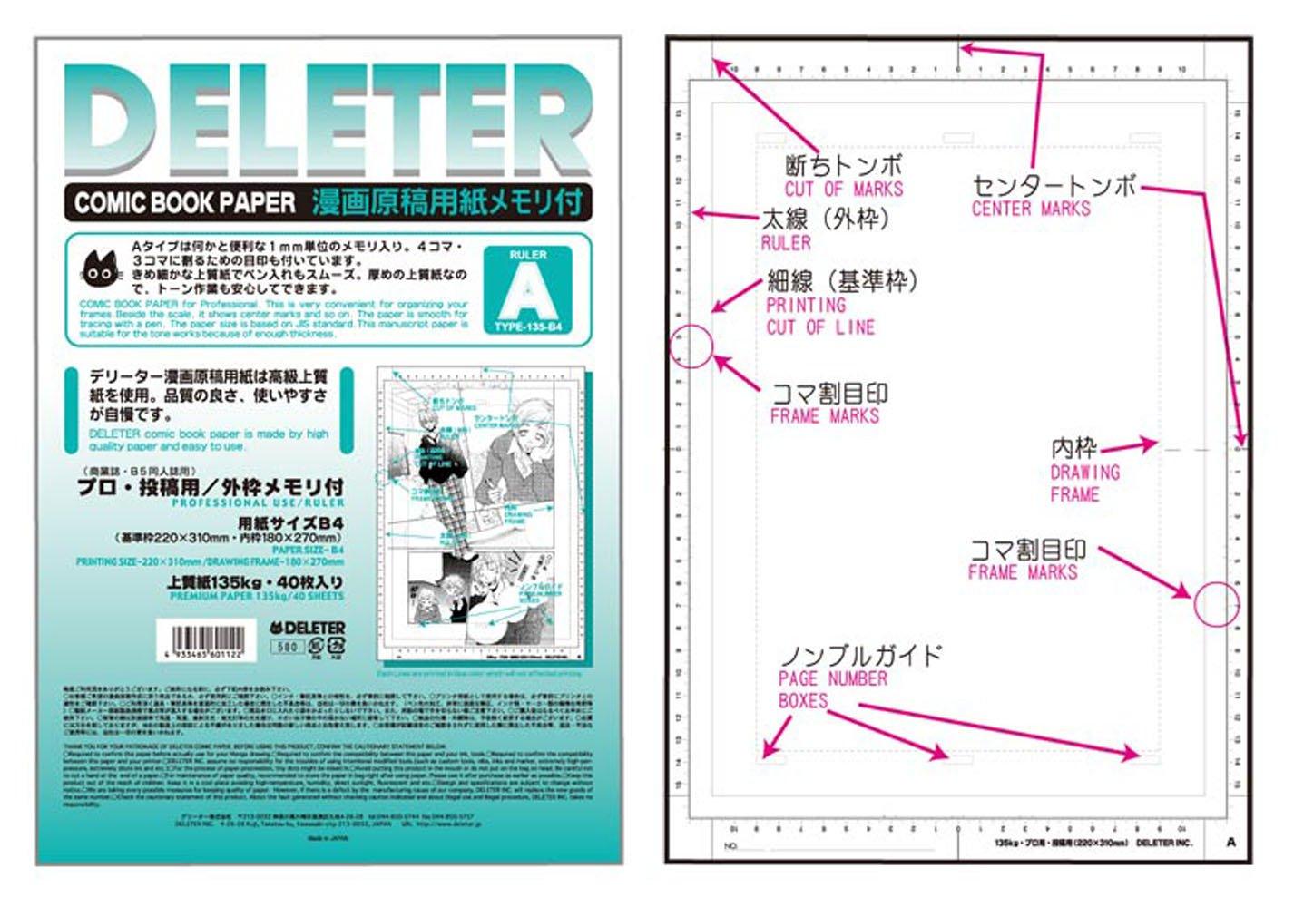 Deleter Comic Book Papel Tipo A B4/135kg Con Escala 40 Hoja