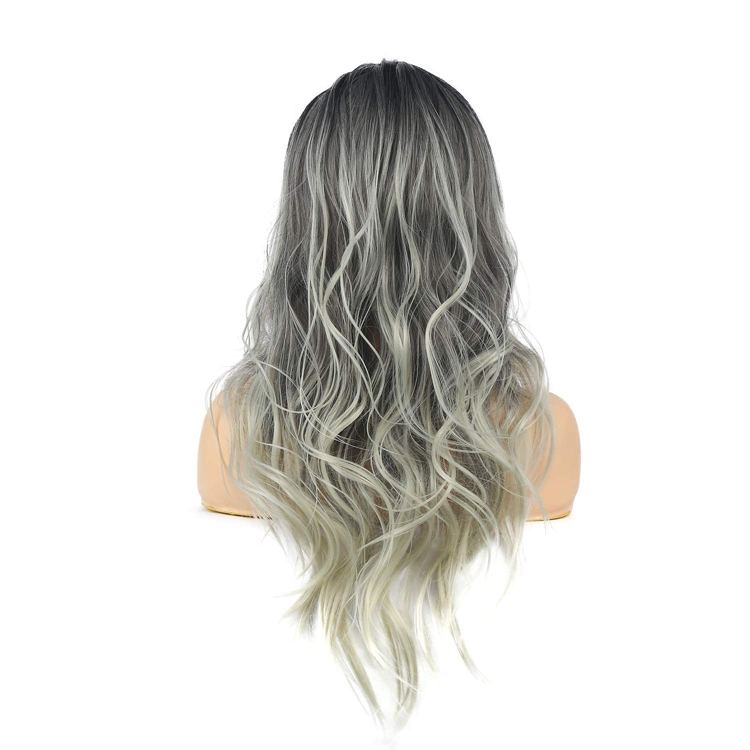 Sallcks Womens Long Curly Wavy Ombre Gray Wigs Dyeing Color Synthetic Replacement Wigs Heat Resistant Party Daily Wig with Wig Cap