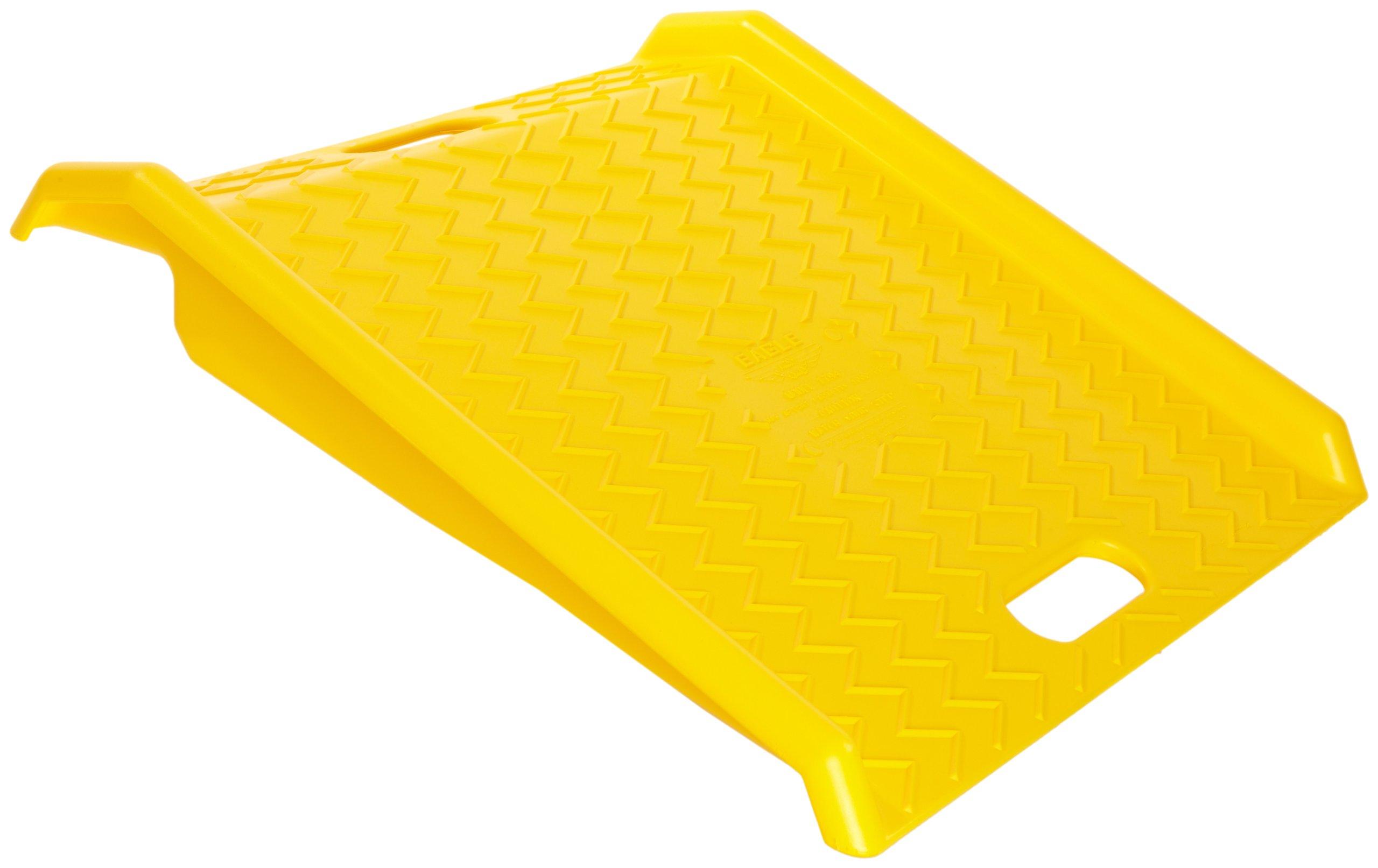 Eagle 1794 High Density Polyethylene Curb Ramp, Yellow, 1000 lbs Load Capacity, 27'' Length, 27'' Width, 4'' Height