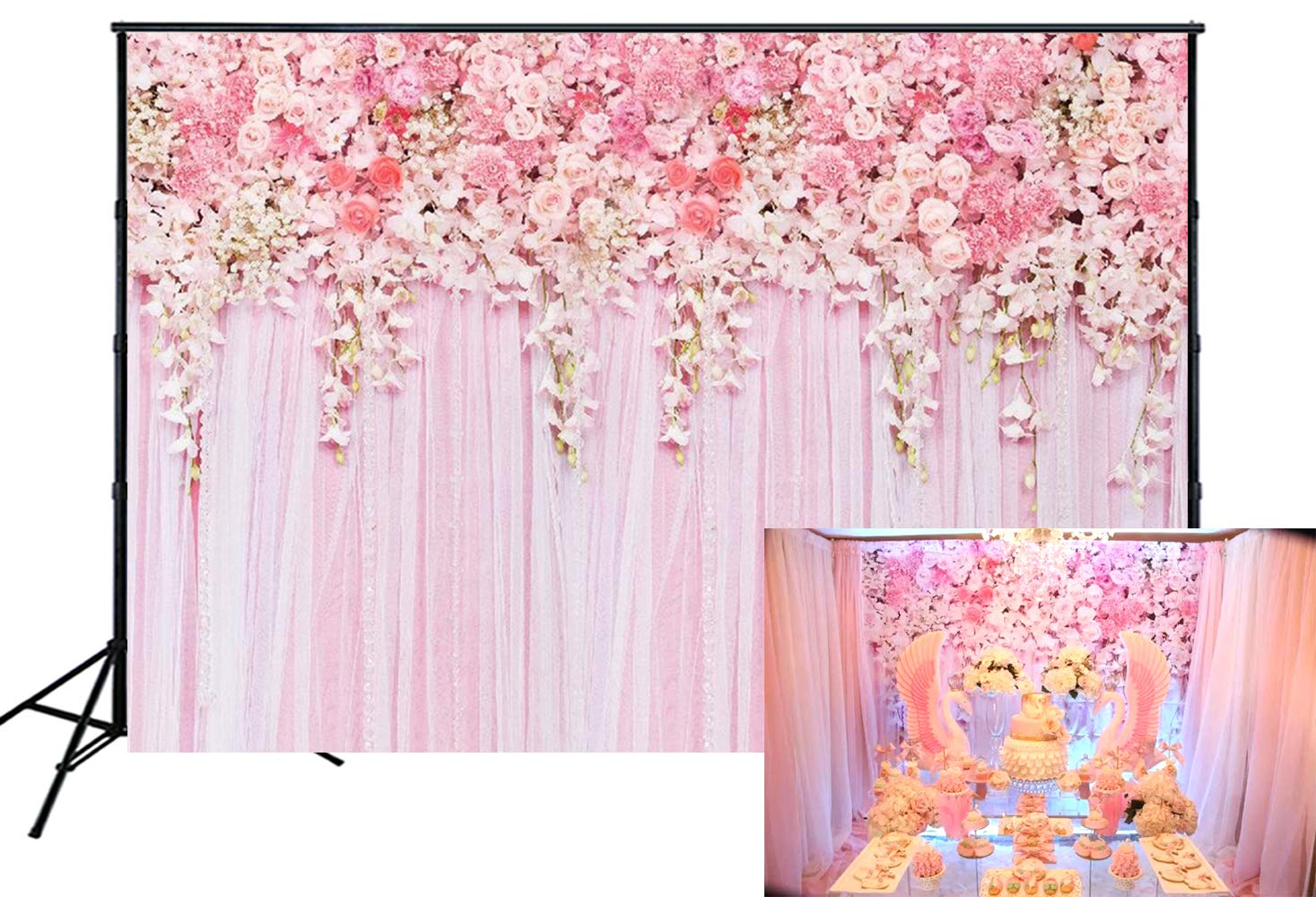 Muzi 7x5ft Pink Floral Backdrop Thin Vinyl Pink Curtain Cake Table Photo Booth Banner Baby Shower Photography Background for Studio Props D-9354