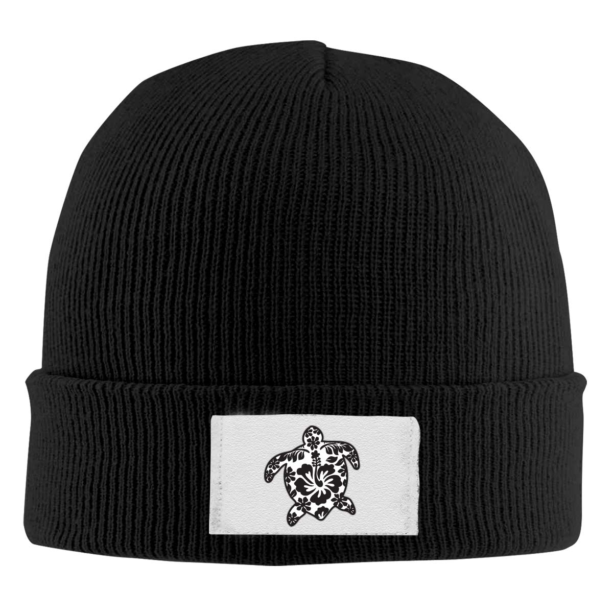 Stretchy Cuff Beanie Hat Black Dunpaiaa Skull Caps Tribal Turtle with Hibiscus Flowers Winter Warm Knit Hats